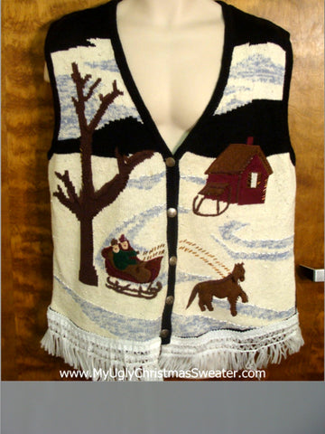Horse Drawn Sleigh Cute Christmas Sweater Vest