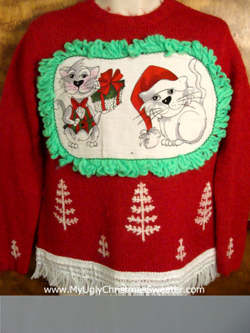 Knit Trees Cat Christmas Sweater