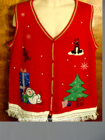 Red Christmas Vest with Sleepy Snowman