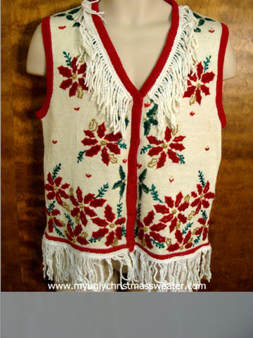Large Red Poinsettias Ugly Sweater Vest