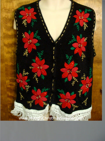 Red Poinsettias Funny Christmas Sweater Vest