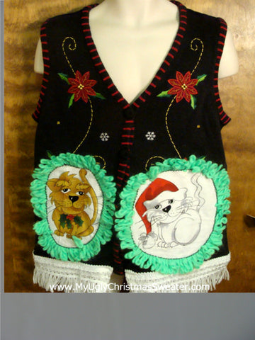 Poinsettias with Swirls Cat Christmas Sweater Vest