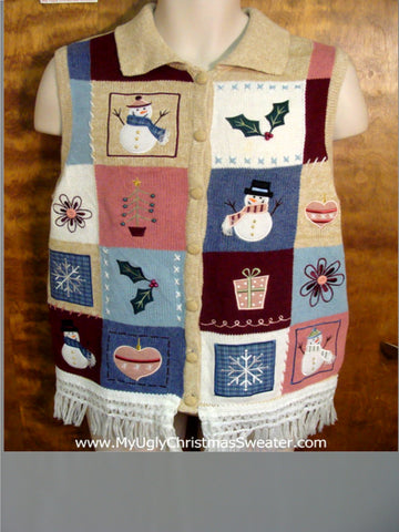 Patchwork Decorations Ugly Christmas Jumper Vest