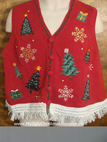 Trees and Snowflakes Ugly Christmas Jumper Vest