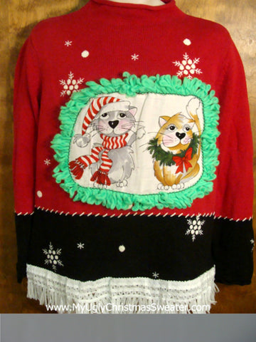 Snowflakes with Pom Poms Cat Christmas Sweater