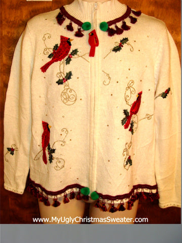 Tacky Red Cardignals Ugly Christmas Sweater with Fringe