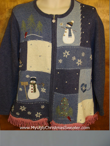 Two Sided Snowy Ugly Christmas Sweater