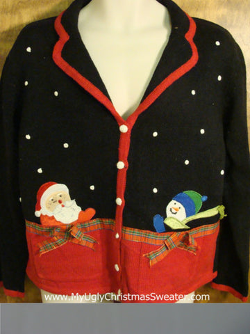 Holiday Sweater with Santa and Snowman