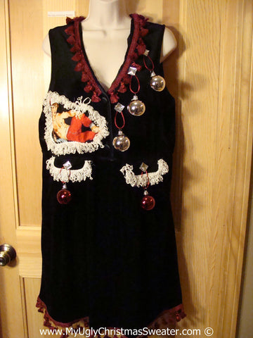 Ugly Christmas Sweater Party Tacky Dress Hottie Guy & Real Ornaments (d100)
