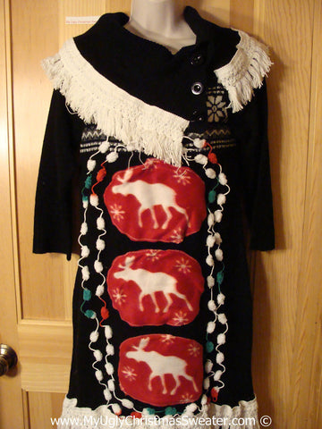 Ugly Christmas Sweater Party Tacky Dress with Reindeer (d101)