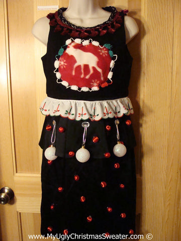 Ugly Christmas Sweater Party Tacky Dress with Reindeer (d104)