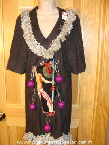 Ugly Christmas Sweater Party Tacky Dress with Hottie Guy and Real Ornaments  (d105)