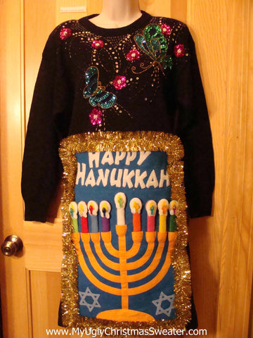 Ugly Christmas Sweater Party 80s Tacky Hanukkah Dress