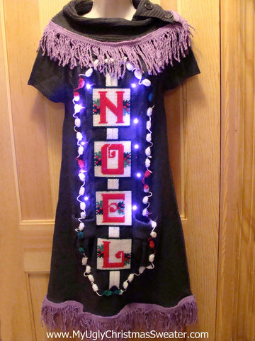 "Ugly Christmas Sweater Party Tacky Dress ""NOEL"" with Lights  (d11)"