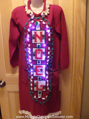 "Ugly Christmas Sweater Party Tacky Dress ""NOEL""  with Lights 80s Padded Shoulders  (d12)"