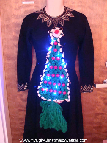 Amazing Ugly Christmas Sweater Party Dress with Lights Size S