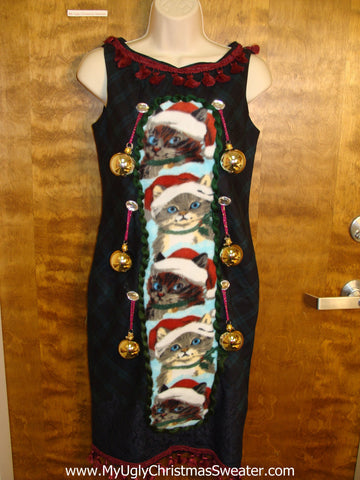 Cute Cats Ugly Christmas Sweater Party Dress Size 2