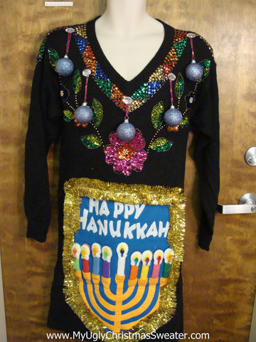 Tacky 80s Bling Holiday Sweater Party Hanukkah Dress Size L