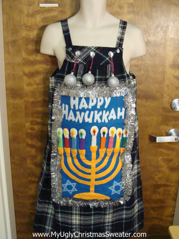 Tacky Holiday Sweater Party Hanukkah Plaid Dress Size L