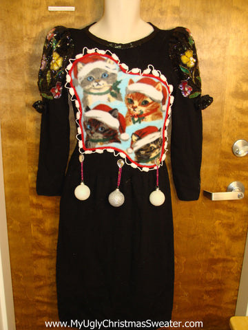 Awesome 80s Santa Cats Ugly Christmas Sweater Party Dress Size 8