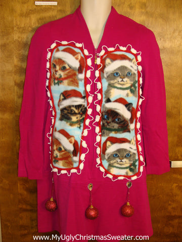 Santa Cat 6pack Pink Ugly Christmas Sweater Party Dress Size 10