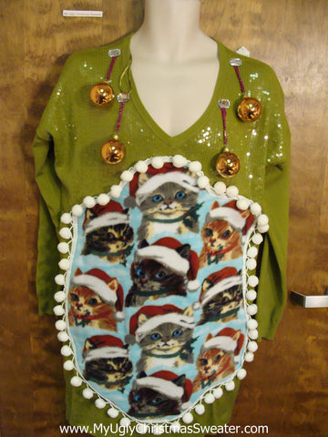 Green Sequin Ugly Christmas Sweater Party Dress with Cats Size L