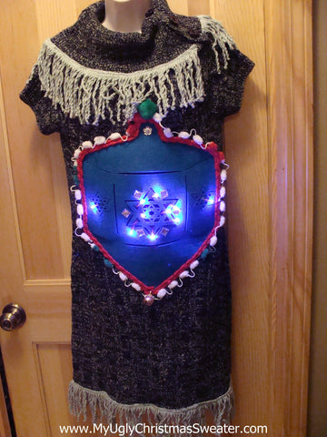 Ugly Christmas Sweater Party Tacky Hanukkah Dress with Lights and Dreidel (d14)