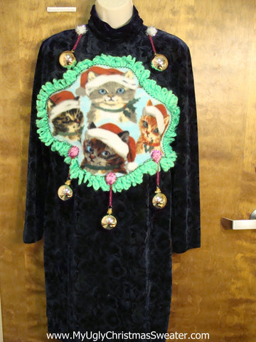 Santa Cat and Ornaments Ugly Christmas Sweater Party Dress Size 12