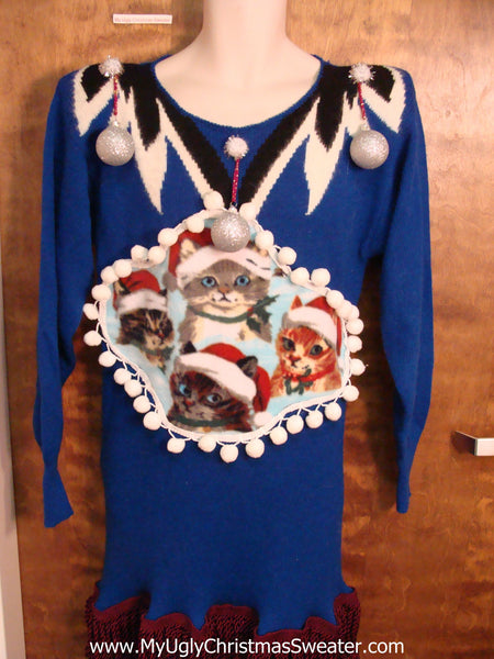 Santa Cats 80s Ugly Christmas Sweater Party Dress Size M