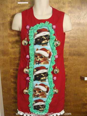 Red Funny Cat Themed Ugly Christmas Sweater Party Dress Size 6
