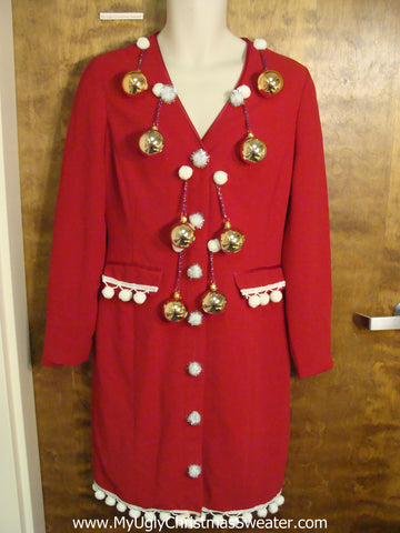 Red Fesitve Ugly Christmas Sweater Party Dress Size 8