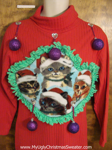 Red Festive Cats Ugly Christmas Sweater Party Dress Size M