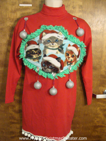 Funny Cat Themed Ugly Christmas Sweater Party Dress Size M