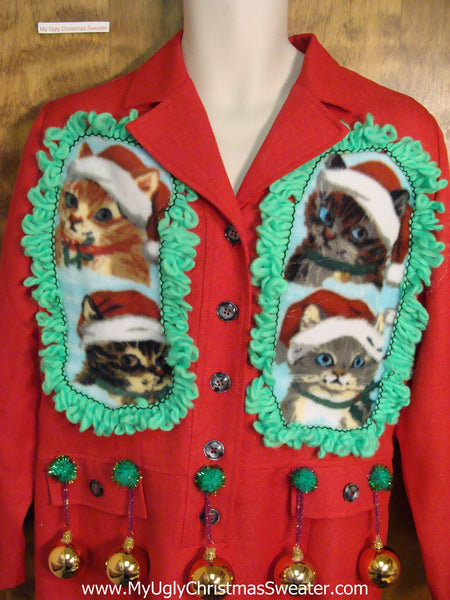 Crazy Cat Lady Ugly Christmas Sweater Party Dress Size 14
