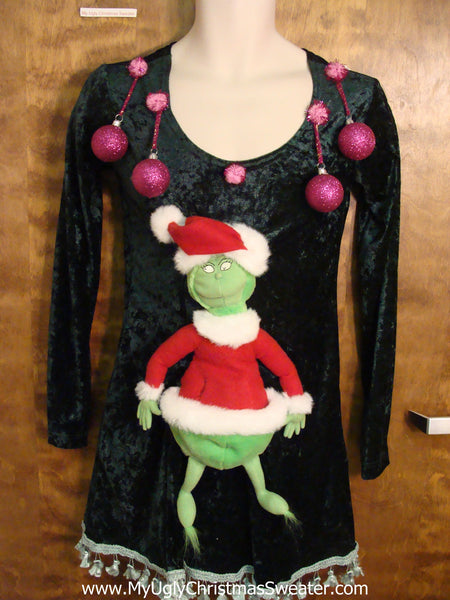 funny grinch ugly christmas sweater party dress size s - Grinch Ugly Christmas Sweater