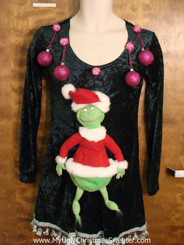 Funny Grinch Ugly Christmas Sweater Party Dress Size S