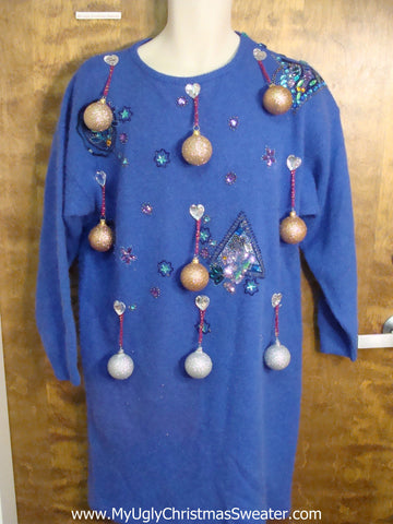 Blue 80s Glam Ugly Christmas Sweater Party Dress Size L XL