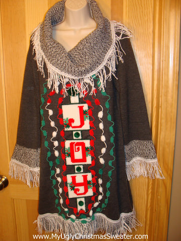 Ugly Christmas Sweater Party Tacky Dress Size L JOY (d18)