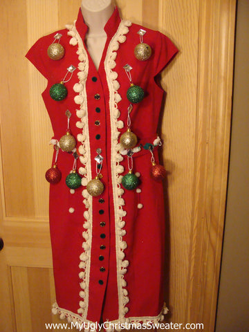 Ugly Christmas Sweater Party Tacky Dress Red with 3D Ornaments Size 4(d19)