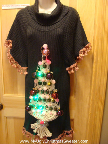 Ugly Christmas Sweater Party Tacky Dress with LIGHTS (d23)