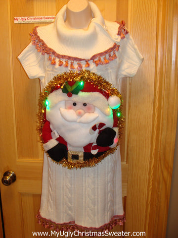Ugly Christmas Sweater Party Tacky Dress with Lights (d25)