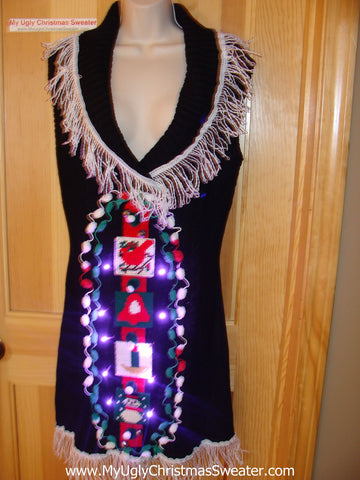 Ugly Christmas Sweater Party Tacky Dress with Lights (d28)