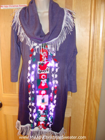 Ugly Christmas Sweater Party Tacky Dress with Lights (d29)