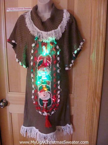Ugly Christmas Sweater Party Tacky Dress with Lights (d31)