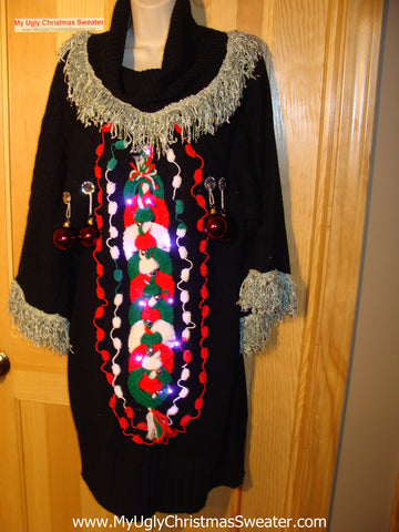 Ugly Christmas Sweater Party Tacky Dress with Lights (d34)