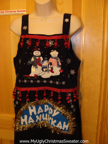 Ugly Christmas Sweater Party Tacky Dress Hanukkah Jumper Snowmen (d35)