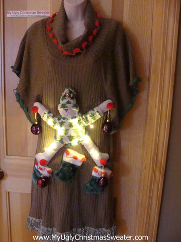 Ugly Christmas Sweater Party Tacky Dress with 3D Snowman and Lights (d37)