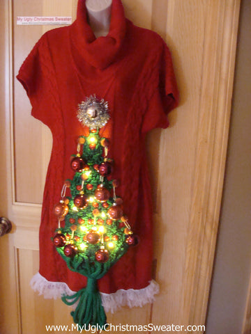 Ugly Christmas Sweater Party Tacky Dress with Lights - Holy Grail of Ugly (d38)