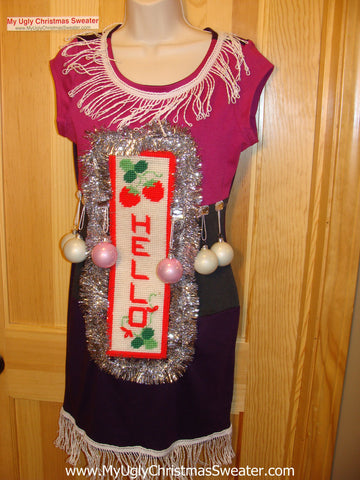 Ugly Christmas Sweater Party Tacky Dress with Ornaments (d40)