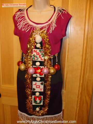 Ugly Christmas Sweater Party Tacky Dress with Ornaments (d41)
